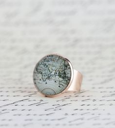 Rose Gold World Map Statement Ring Map Ring Gift For by JacarandaDesigns