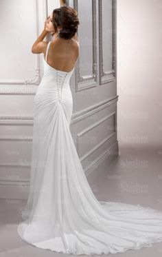 Chiffon Pleated Bodice Halter Wedding Dress with Sexy Side Slit Wedding Dress Chiffon, 2015 Wedding Dresses, Cheap Wedding Dress, Bridal Dresses, Wedding Gowns, Dresses 2014, Chiffon Gown, Ivory Wedding, Chiffon Fabric