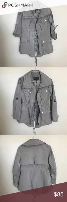BCBG Max Azria Jacket GORGEOUS olive green jacket, adjustable waist, pockets and hoodie that folds back into collar. Great condition! Wish I could keep it but it's too small 😢 BCBGMaxAzria Jackets & Coats Utility Jackets