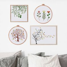 Green Vines cross stitch pattern Modern nature by ThuHaDesign