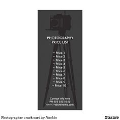 Shop Photographer ı rack card created by Naokko. Photography Price List, Rack Card, Promote Your Business, Photography Business, Marketing, Cards, Design, Fotografie, Map