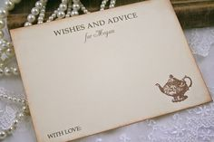 Tea Party Advice Cards Bridal Shower Wish by OnTheWingsPaperie