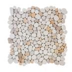Jeffrey Court Creama River Rock Mosaic 12 in. x 12 in. x 8 mm Marble Mosaic Wall Tile-99052 - The Home Depot