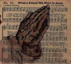 Praying Hands painted vintage hymn What a by ArtbyEvelynMarie