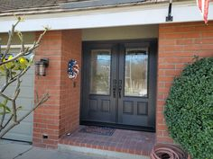 Double doors with glass. These fiberglass doors can be painted or stained to look like wood. Entry Doors With Glass, Glass Door, Double Doors, Light Up, Garage Doors, Wood, Outdoor Decor, Painting, Home Decor