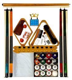Rec Room Pool Table Oak Finish Accessories Dark Classic Marble Billiard Ball Set #IszyBilliards