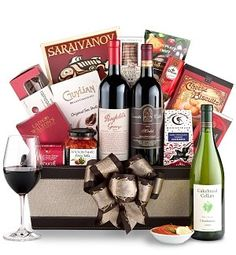 Wine and Chocolate Gift Basket, Covered Wine Bottle, Corporate ...