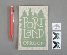 Illustrated Postcards  //  Set of 6  //  Portland by acbcDesign, $6.00 #postcard #modern #illustration #typography