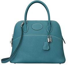 """Hermès """"Bolide"""" bag in turquoise."""