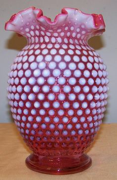 Fenton Cranberry Opalescent Hobnail Vase 8.5 inches tall by Cousins Antiques on Ruby Lane