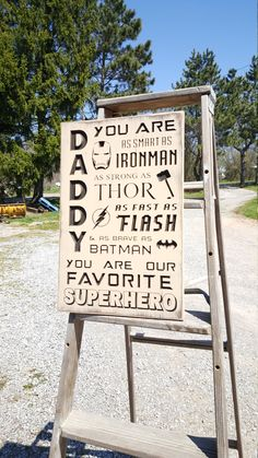 "Custom Carved Wooden Sign - ""DADDY, You are as smart as Ironman, strong as Thor, fast as Flash & brave as Batman ... SUPERHERO"" by HayleesCloset on Etsy"