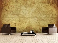 17th Century World Map wall mural room setting
