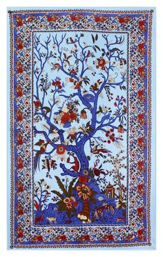 Amazon.com - Sunshine Joy Tree Of Life Indian Tapestry Beach Sheet Hanging Wall Art 60x90 Inches (Blue) -
