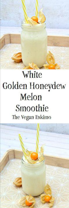 White Golden Honeydew Melon Smoothie - The Vegan Eskimo Melon Recipes, Easy Drink Recipes, Fruit Smoothie Recipes, Yummy Smoothies, Honeydew Smoothie, Honeydew Melon, Green Goddess Smoothie, Milk Tea Recipes, Freezer Smoothies