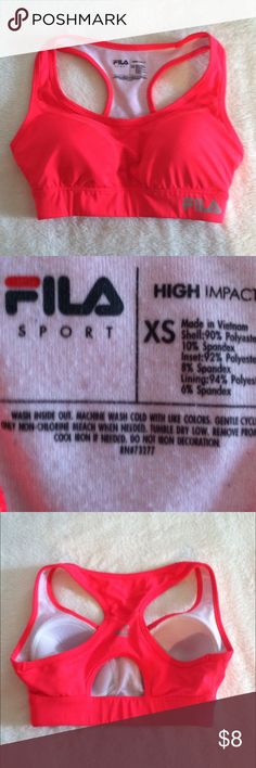 Fila sports bra XS •Excellent used condition •Worn a handful of times •High impact •Color: Neon Pink •Brand: Fila •Size: XS •NO TRADES Fila Intimates & Sleepwear Bras