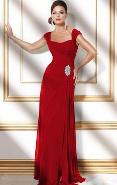 Buy UK A-line Floor-length Square Red Dress , Ladies dresses and flower girls dresses, Discount Dresses for sale - 4p282 - skucolorch091406