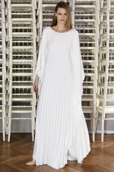 Alexis Mabille | Spring 2016 Couture | 09 White pleated long sleeve maxi dress
