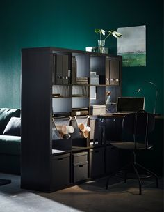 Let a room divider such as IKEA KALLAX shelving unit in black-brown create the feeling of an extra space. Get organised by using different inserts such as IKEA KALLAX hanging organiser in light grey for sketches or magazines. Ikea Kallax Shelving, Kallax Shelf Unit, Ikea Kallax Regal, Small Rooms, Small Spaces, Ikea Portugal, Types Of Rooms, Open Plan Living, Storage Spaces