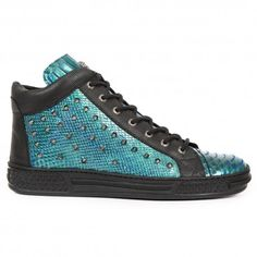TEAL GREEN PATENT SNAKESKIN EFFECT LEATHER TRAINERS WITH CONTRASTING BLACK LEATHER DETAILS. http://www.tribugotica.com/en/newrock/339-teal-green-snakeskin-effect-sneakers.html?utm_campaign=crowdfire&utm_content=crowdfire&utm_medium=social&utm_source=pinterest