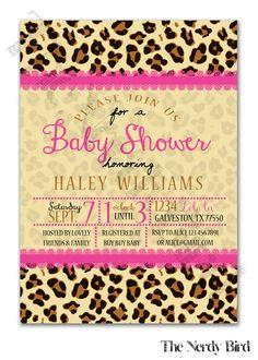 Pink Lace and Cheetah Print Background Printable Baby Girl Shower Invitation by TheNerdyBird1 on Etsy https://www.etsy.com/listing/202016368/pink-lace-and-cheetah-print-background