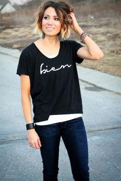 DIY bien graphic painted tshirt from @Kilee McCaleb // ONE little MOMMA on BrassyApple.com #refashion