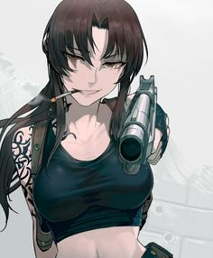 Anime picture black lagoon madhouse revy (black lagoon) walzrj long hair single tall image looking at viewer brown hair brown eyes holding payot upper body midriff smoke smoking girl gloves weapon gun 568745 en Revy Black Lagoon, Black Lagoon Anime, Anime Girl Hot, Manga Girl, Chica Anime Manga, Anime Art, Fantasy Characters, Female Characters, Character Art