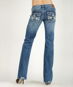 Take a look at the Medium Stain Low-Rise Bootcut Jeans on #zulily today!