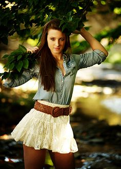 lace and denim button up - longer skirt with brown boots