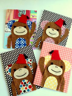 *Jennuine by Rook No. 17*: Monkeying Around with Fabric Scraps~ DIY Fabric Scrap Monkey Cards
