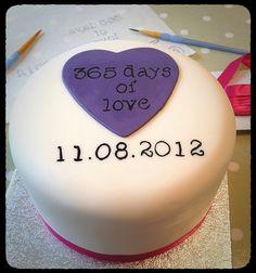 1st wedding anniversary cake. Ivory & Rose Cake Co.