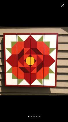 Rose Barn Quilt on Western Red Cedar Barn Quilt Designs, Barn Quilt Patterns, Patchwork Patterns, Quilting Designs, Barn Signs, Wood Signs, Painted Barn Quilts, Barn Art, Quilt Labels