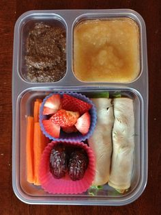 Turkey BLTA Roll-Ups; Dates; Strawberries; Carrot Sticks; Applesauce; Chocolate Chia Pudding
