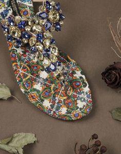 MAJOLICA PATENT LEATHER JEWELED SANDALS  - Flip flops - Dolce&Gabbana - Winter 2015