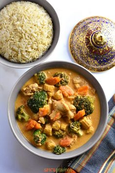 Thai Panang Curry is a rich, mildly spicy and creamy coconut curry with Chicken, Seafood or Tofu (Vegetarian). In this recipe, we shorten the recipe to less than 30 minutes using the instant pot.