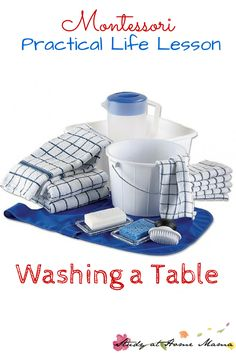 Montessori Practical Life Lesson: Washing a Table ⋆ Study at Home Mama