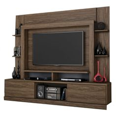 Stand for Home Theater and TV up to 55 Inches Miami Carvalho Munich - - Contemporary Entertainment Center, Living Room Tv Unit Designs, Large Drawers, House Plans, The Unit, Entertaining, Rustic, Furniture, Miami