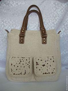 """вязаная сумка """"Горожанка"""", цвет: слоновая кость - белый,однотонный,женская сумка"""