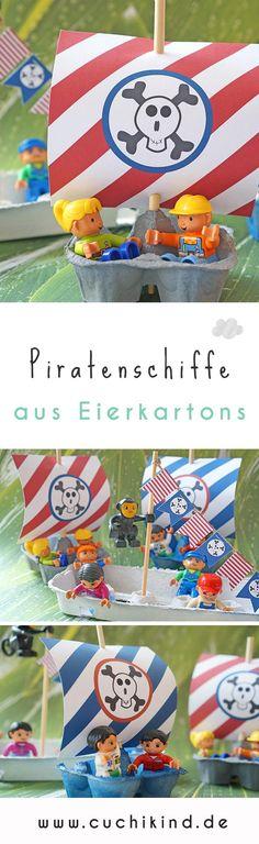 Aus Eierkartons kann man tolle Sachen mit Kindern basteln, zum Beispiel Piratenschiffe. Die Segel und Wimpel gibt es zum kostenlosen Download. #freebie #tutorial #download #printable #eierkartons #bastelnmitkindern #piraten #piratenschiffe