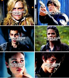 the 100 squad bellamy clarke jasper octavia raven monty The 100 Show, The 100 Cast, It Cast, The 100 Tv Series, The 100 Raven, Les Cents, Love Trailer, The 100 Characters, The 100 Quotes