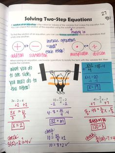 Solving Two-Step Equations interactive notebook page(Step Class Solving Equations) Junior High Math, Seventh Grade Math, Solving Linear Equations, Math Equations, Two Step Equations, Math Intervention, Math Notebooks, Algebra Interactive Notebooks, Algebra 1