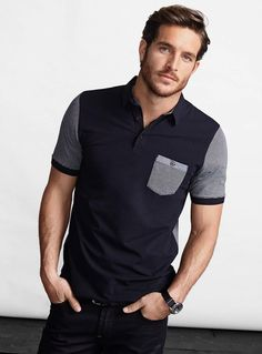 The term Polo shirt was originally used to describe the long sleeved, thick button down shirts used to play Polo. In the a tennis shirt embroidered with a polo player on it was the first of … Tennis Shirts, Polo T Shirts, Polo Shirt Style, Polo Shirt Design, Moda Junior, Justice Joslin, Sexy Men, Shirt Designs, Cute Outfits