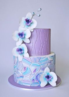 Marble Orchids on Cake Central Gorgeous Cakes, Pretty Cakes, Cute Cakes, Amazing Cakes, Girly Cakes, Purple Cakes, Purple Wedding Cakes, Fondant Cakes, Cupcake Cakes