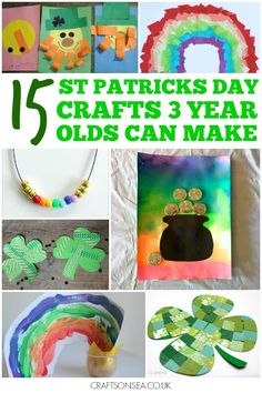 Achievable St Patricks Day crafts for 3 year olds - fun activities that kids have really done themselves including leprechauns, rainbows and shamrocks
