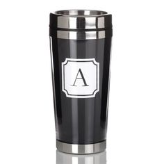 With 12 letters to choose from, the Initial Travel mug with Cocktail shaker lid is a great gift for friends who are always on the go.
