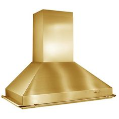 """Images of Best KER22248PB 48"""" Wall Mount Chimney Hood with 1,000 CFM Internal Blower, 4-Speed Push Button Control, 4 Halogen Lamps and Dishwasher Safe Mesh Filters: Brass 