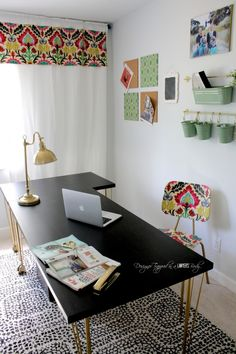 looks at the before after pictures of this inspiring home office designed by designer trapped black shag rug home office