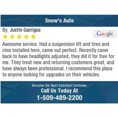 Awesome service. Had a suspension lift and tires and rims installed here, came out...