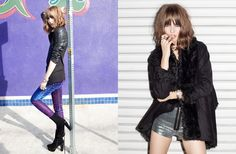 Left: Blackout Sequin Blazer, Shine On Jeans, Circuit Platform Boot; Right: Chelsea Shearling Coat - shorts coming soon!