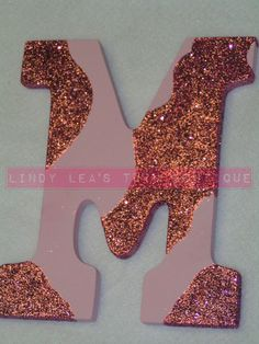 Glitter PInk Camo  wooden Letter by www.LindyLeasTutuBoutique.com