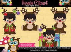 Reindeer Boys Christmas 1 Clipart Digital Download by MaddieZee